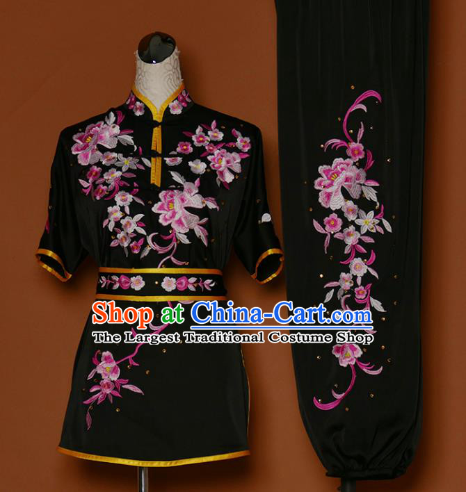 Chinese Professional Martial Arts Embroidered Peony Black Costume Traditional Kung Fu Competition Tai Chi Clothing for Women