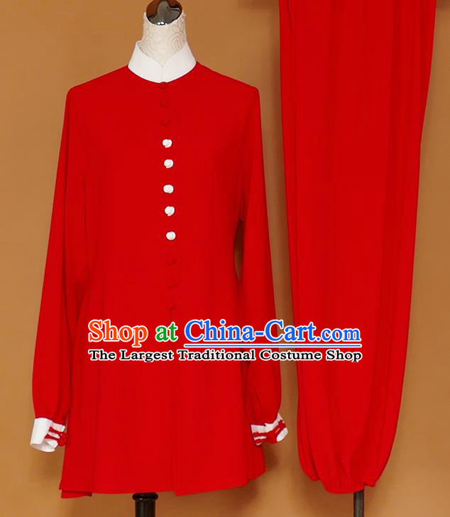 Chinese Professional Martial Arts Red Costume Traditional Kung Fu Competition Tai Chi Clothing for Women