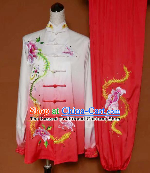 Chinese Professional Martial Arts Embroidered Butterfly Peony Costume Traditional Kung Fu Competition Tai Chi Clothing for Women