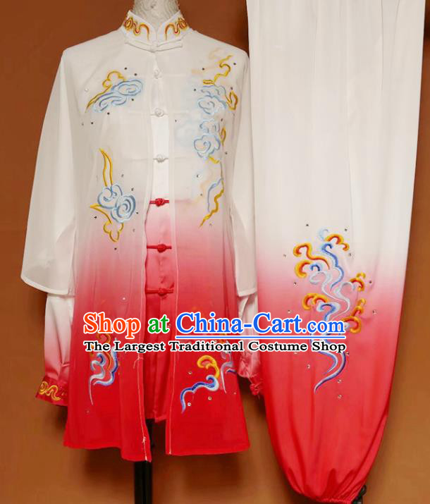 Chinese Professional Martial Arts Embroidered Cloud Peony Costume Traditional Kung Fu Competition Tai Chi Clothing for Women