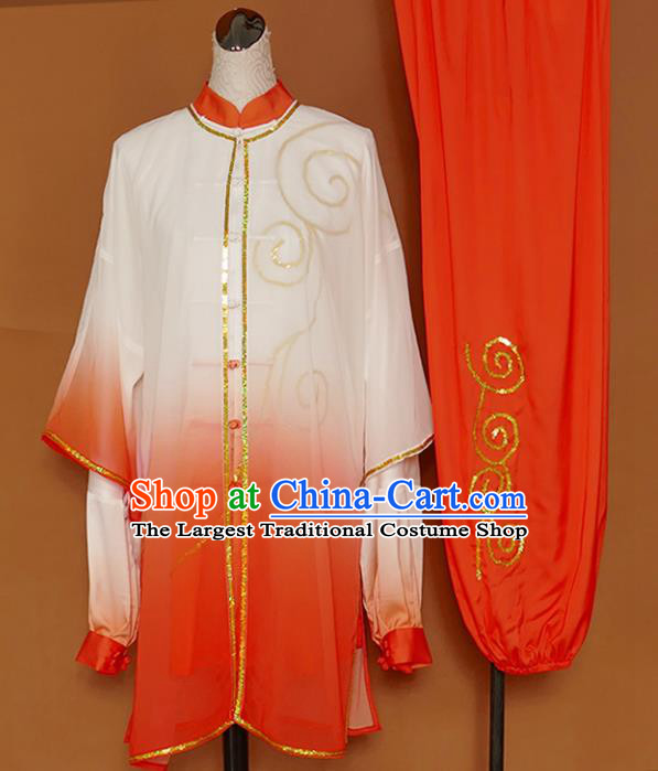 Chinese Professional Martial Arts Embroidered Orange Costume Traditional Kung Fu Competition Tai Chi Clothing for Women