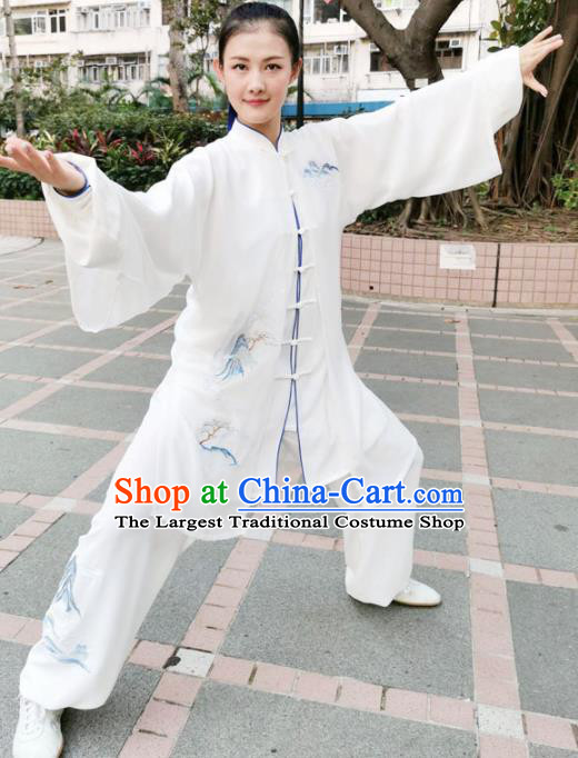 Chinese Professional Martial Arts Landscape Painting White Costume Traditional Kung Fu Competition Tai Chi Clothing for Women