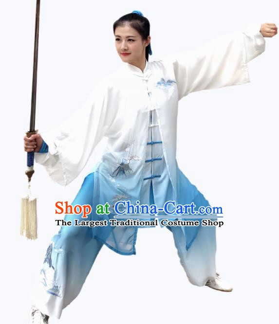 Chinese Professional Martial Arts Embroidered Landscape Blue Costume Traditional Kung Fu Competition Tai Chi Clothing for Women