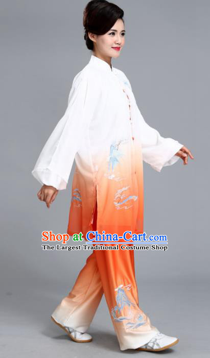 Chinese Professional Martial Arts Embroidered Landscape Orange Costume Traditional Kung Fu Competition Tai Chi Clothing for Women