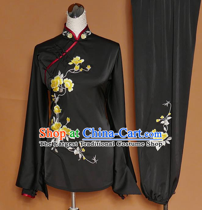 Chinese Traditional Best Martial Arts Embroidered Peony Black Costume Kung Fu Competition Tai Chi Clothing for Women