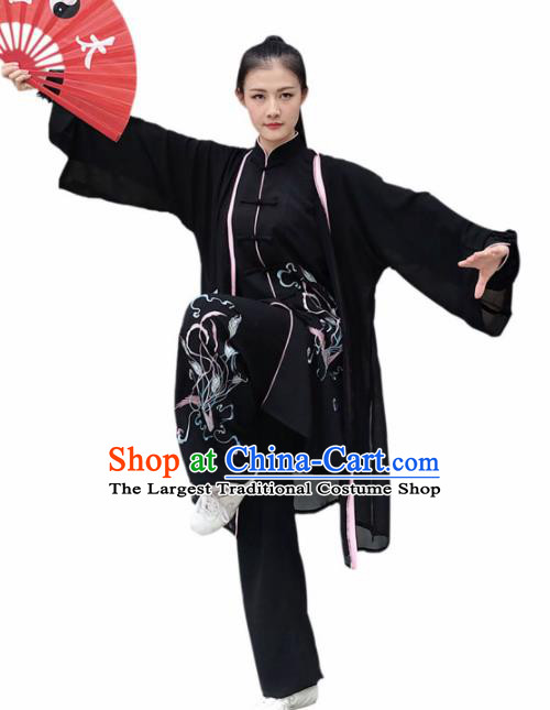 Professional Chinese Martial Arts Embroidered Black Costume Traditional Kung Fu Competition Tai Chi Clothing for Women