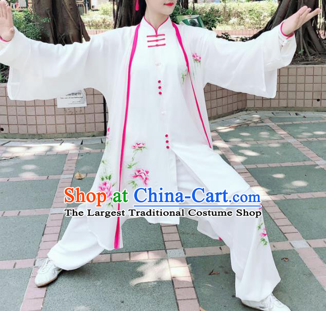 Professional Chinese Martial Arts Embroidered Peony White Costume Traditional Kung Fu Competition Tai Chi Clothing for Women