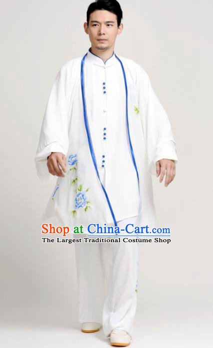 Chinese Martial Arts Competition Printing Blue Peony Uniforms Traditional Kung Fu Tai Chi Training Costume for Men