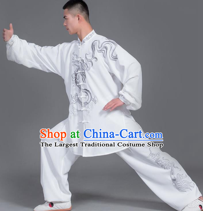 Chinese Martial Arts Competition White Uniforms Traditional Kung Fu Tai Chi Training Costume for Men