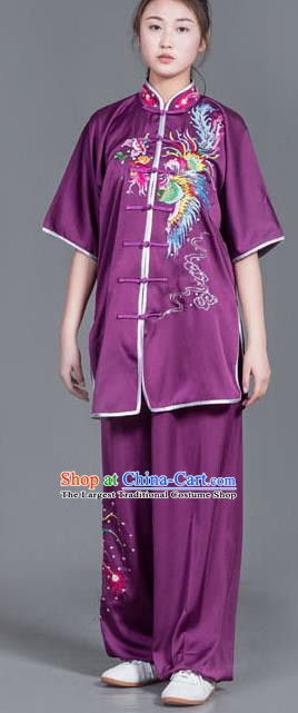 Chinese Martial Arts Competition Embroidered Phoenix Purple Uniforms Traditional Kung Fu Tai Chi Training Costume for Men