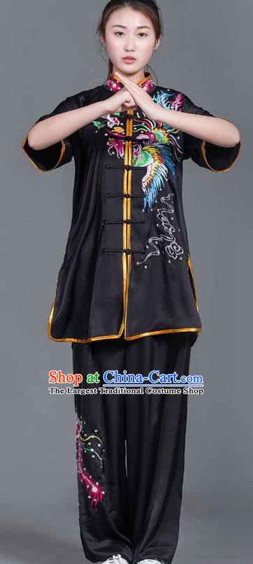 Chinese Martial Arts Competition Embroidered Phoenix Black Uniforms Traditional Kung Fu Tai Chi Training Costume for Men