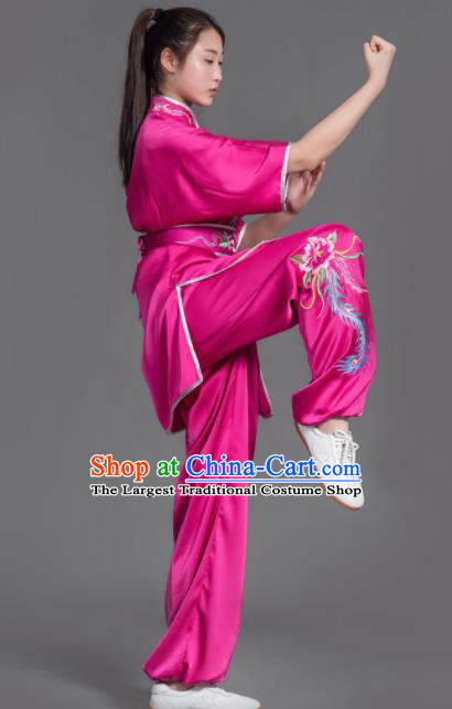 Chinese Martial Arts Competition Embroidered Phoenix Rosy Uniforms Traditional Kung Fu Tai Chi Training Costume for Men