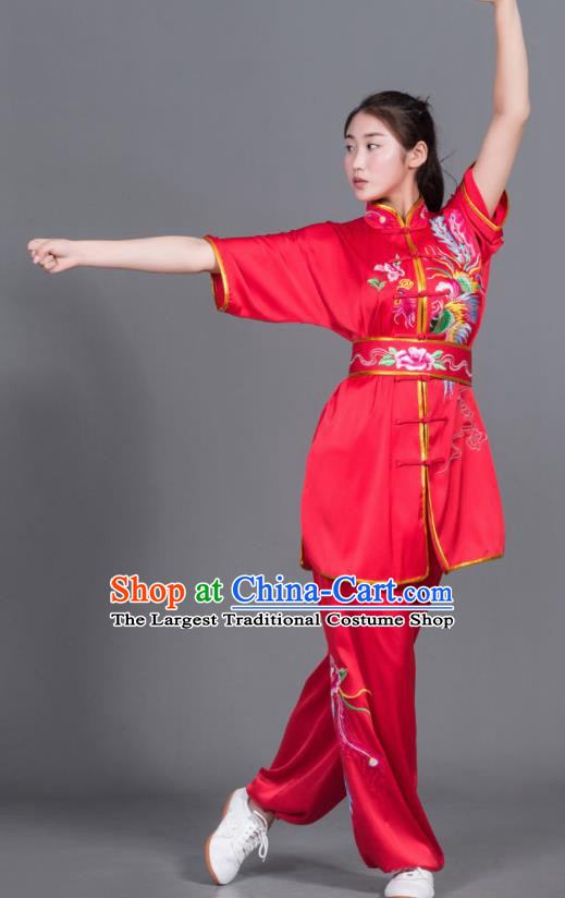 Chinese Martial Arts Competition Embroidered Phoenix Red Uniforms Traditional Kung Fu Tai Chi Training Costume for Men