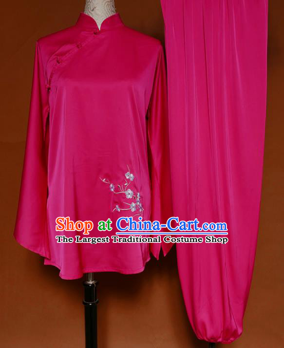 Chinese Traditional Best Martial Arts Embroidered Plum Rosy Costume Kung Fu Competition Tai Chi Clothing for Women