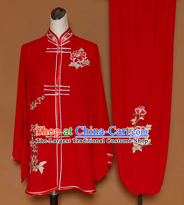 Chinese Traditional Best Martial Arts Embroidered Peony Red Costume Kung Fu Competition Tai Chi Clothing for Women