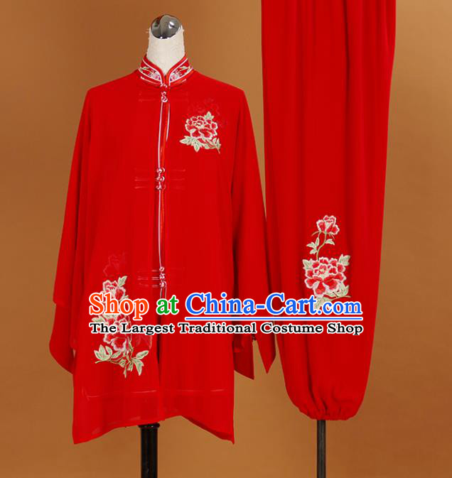 Chinese Traditional Best Martial Arts Embroidered Peony Red Veil Costume Kung Fu Competition Tai Chi Clothing for Women