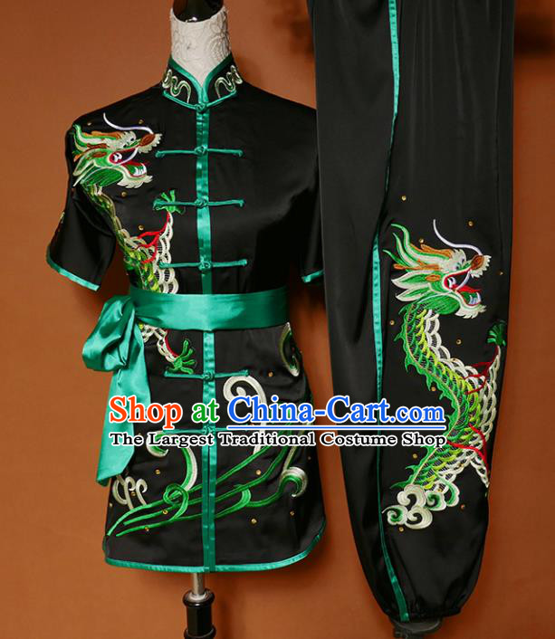 Best Martial Arts Competition Embroidered Dragon Black Uniforms Chinese Traditional Kung Fu Tai Chi Training Costume for Men