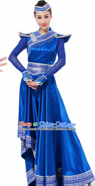 Traditional Chinese Mongol Ethnic Costume Mongolian Nationality Minority Dance Royalblue Dress for Women