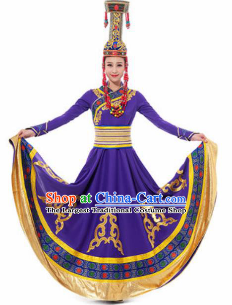 Traditional Chinese Mongol Ethnic Costume Mongolian Nationality Minority Dance Purple Dress for Women