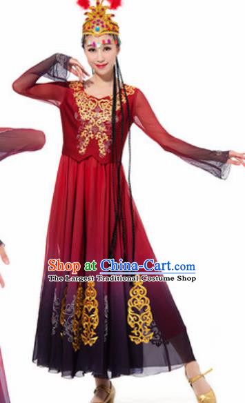 Traditional Chinese Uyghur Ethnic Costume Uyghurian Nationality Minority Dance Wine Red Dress for Women