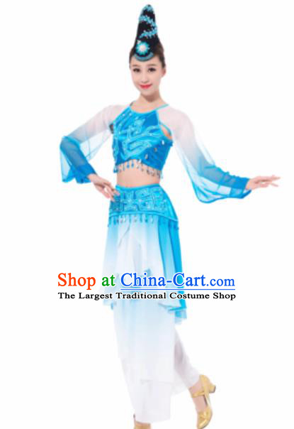 Chinese Spring Festival Gala Folk Dance Blue Dress Traditional Classical Dance Costume for Women