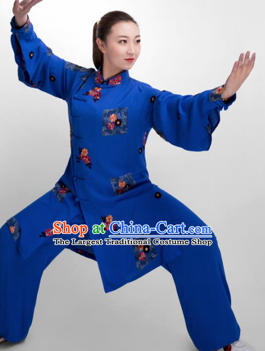 Chinese Traditional Martial Arts Blue Costume Kung Fu Tai Chi Training Clothing for Women