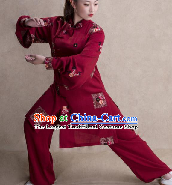 Chinese Traditional Martial Arts Wine Red Costume Kung Fu Tai Chi Training Clothing for Women