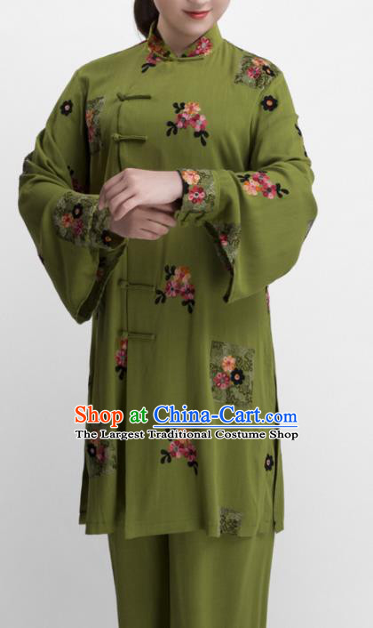 Chinese Traditional Martial Arts Olive Green Costume Kung Fu Tai Chi Training Clothing for Women