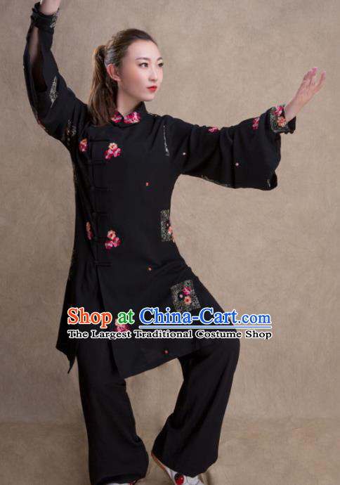 Chinese Traditional Martial Arts Black Costume Kung Fu Tai Chi Training Clothing for Women