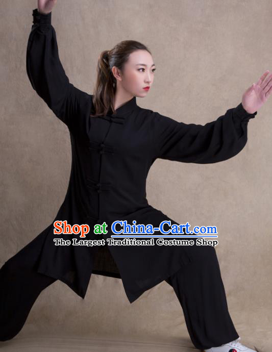 Chinese Traditional Martial Arts Competition Black Costume Kung Fu Tai Chi Training Clothing for Women