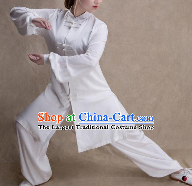 Chinese Traditional Martial Arts Competition White Costume Kung Fu Tai Chi Training Clothing for Women