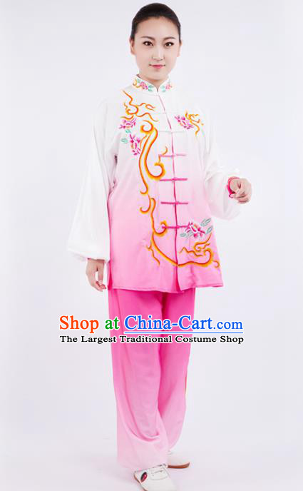 Chinese Traditional Martial Arts Competition Embroidered Peony Pink Costume Kung Fu Tai Chi Training Clothing for Women