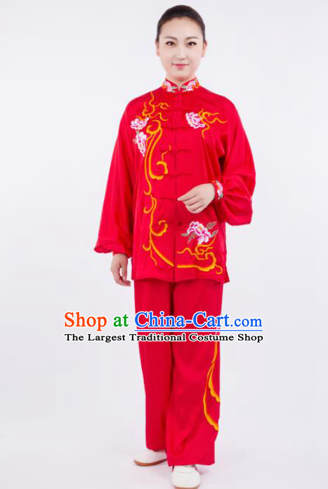 Chinese Traditional Martial Arts Competition Embroidered Peony Red Costume Kung Fu Tai Chi Training Clothing for Women