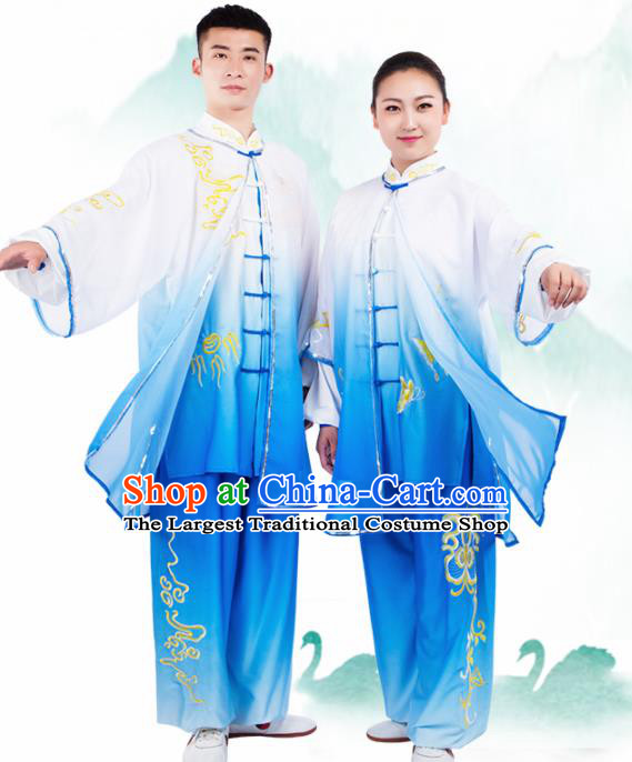 Chinese Traditional Martial Arts Competition Embroidered Butterfly Costume Kung Fu Tai Chi Training Clothing for Men
