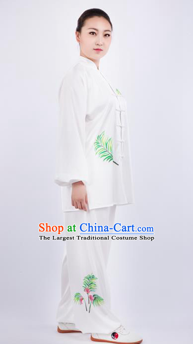 Chinese Traditional Martial Arts Competition Printing White Costume Kung Fu Tai Chi Training Clothing for Women