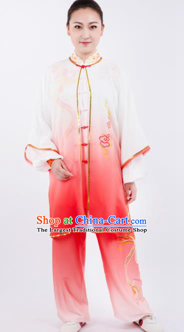 Chinese Traditional Martial Arts Gradient Rosy Costume Kung Fu Competition Tai Chi Training Clothing for Women