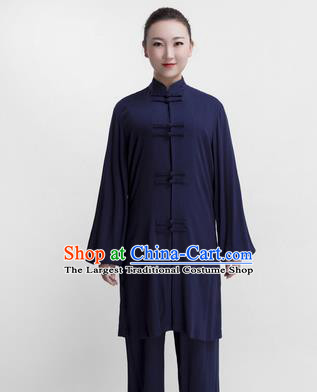 Chinese Traditional Martial Arts Competition Navy Costume Kung Fu Tai Chi Training Clothing for Women