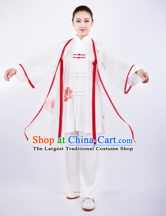 Chinese Traditional Martial Arts Printing Lotus Costume Kung Fu Competition Tai Chi Training Clothing for Women