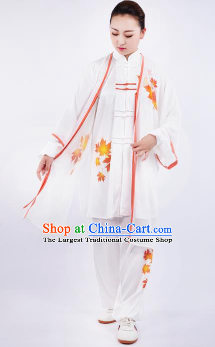 Chinese Traditional Martial Arts Printing Maple Leaf Costume Kung Fu Competition Tai Chi Training Clothing for Women