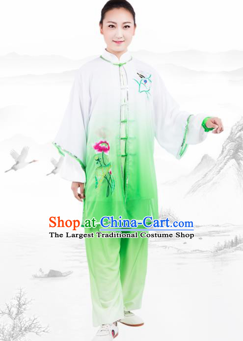 Chinese Traditional Martial Arts Embroidered Lotus Green Costume Kung Fu Competition Tai Chi Training Clothing for Women