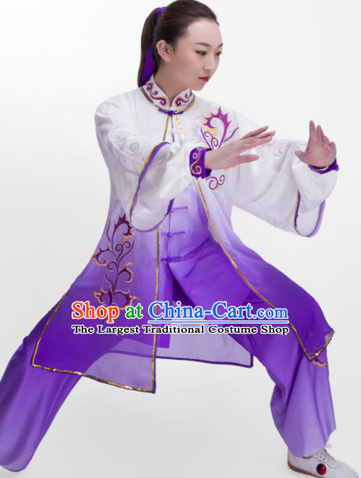 Chinese Traditional Martial Arts Competition Purple Costume Kung Fu Tai Chi Training Clothing for Women