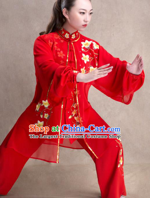 Chinese Traditional Martial Arts Competition Red Costume Kung Fu Tai Chi Training Clothing for Women