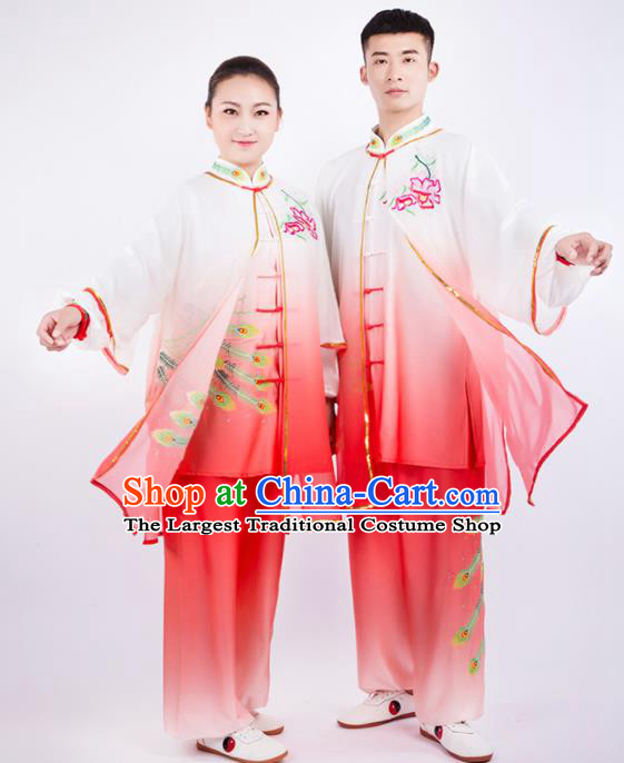Chinese Traditional Martial Arts Competition Orange Costume Kung Fu Tai Chi Training Clothing for Men