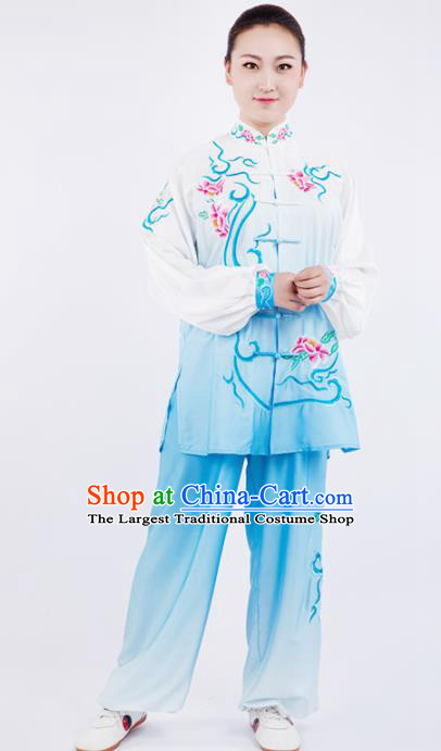 Chinese Traditional Martial Arts Competition Embroidered Peony Blue Costume Kung Fu Tai Chi Training Clothing for Women