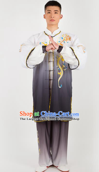 Chinese Traditional Martial Arts Competition Embroidered Grey Costume Kung Fu Tai Chi Training Clothing for Men