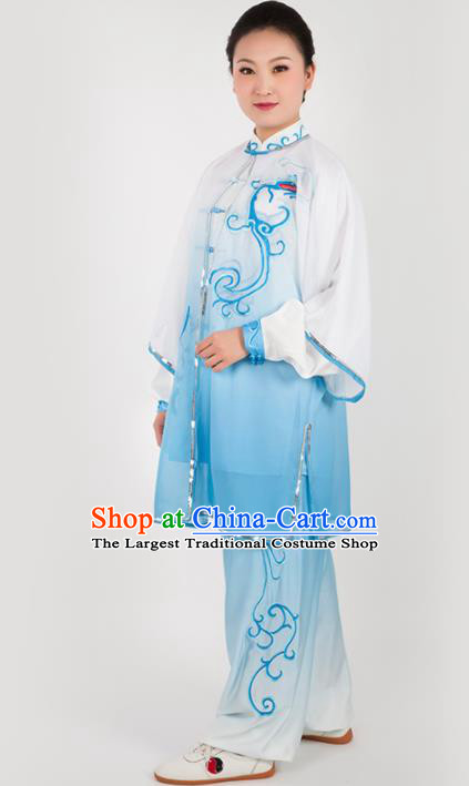 Chinese Traditional Martial Arts Embroidered Blue Costume Kung Fu Competition Tai Chi Training Clothing for Women