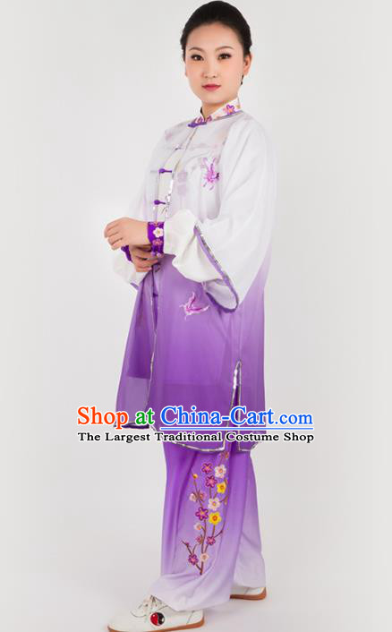 Chinese Traditional Martial Arts Embroidered Butterfly Purple Costume Kung Fu Competition Tai Chi Training Clothing for Women