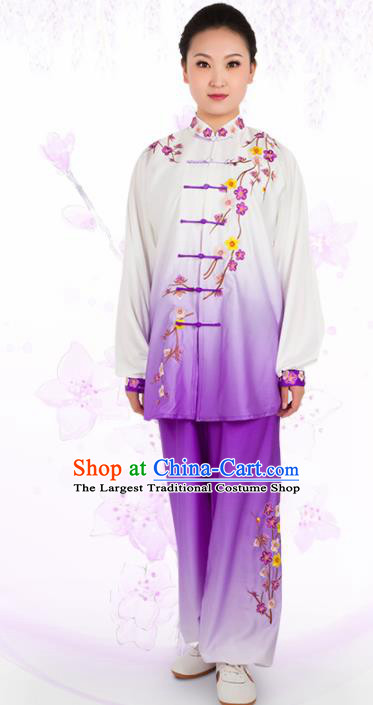 Chinese Traditional Martial Arts Embroidered Plum Purple Costume Kung Fu Competition Tai Chi Training Clothing for Women