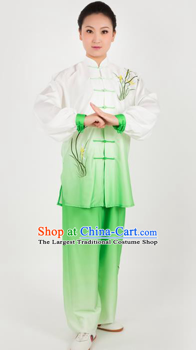 Chinese Traditional Martial Arts Embroidered Orchid Green Costume Kung Fu Competition Tai Chi Training Clothing for Women