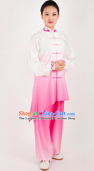 Chinese Traditional Martial Arts Pink Costume Kung Fu Competition Tai Chi Training Clothing for Women